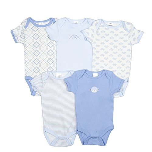 [Chick Pea Unisex Baby 5 Bodysuit Gift Set In Organza Wrapping, Blue Bear 3-6 M] (Ninja Suits For Sale)