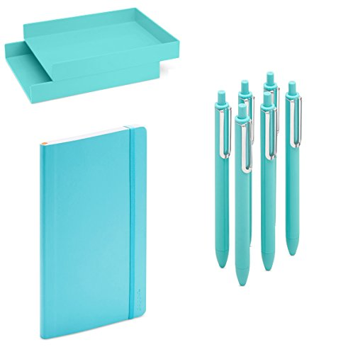 ce Desk Accessory Writing Gift Collection Set with Front Load Stackable 2 Tier Letter Trays, Medium Size Soft Cover College Ruled Notebook Paper and Retractable Gel Luxe Pens Aqua ()