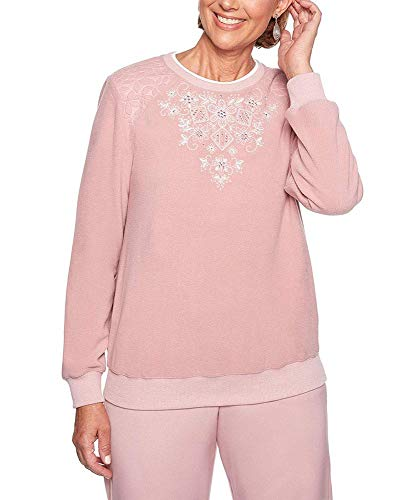 - Alfred Dunner Women's Home for The Holidays Embroidered Yoke Fleece Sweatshirt (Petite Large, Rose)