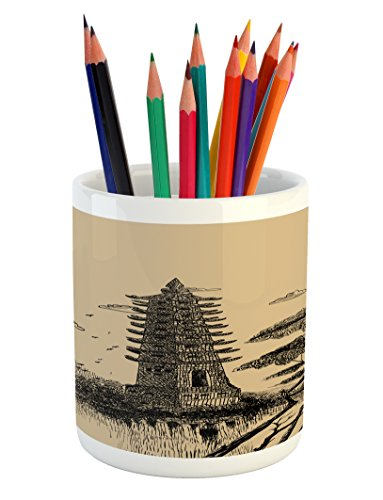 Ambesonne Asian Pencil Pen Holder, Old Stone Tiered Tower Vintage Taoist House of Faith Historical Illustration, Printed Ceramic Pencil Pen Holder for Desk Office Accessory, Pale Brown Black by Ambesonne