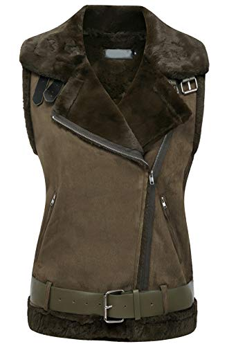 chouyatou Women's Winter Notched Collar Oblique-Zip Sherpa Lined Suede Waistcoat Vest (Small, Army Green) (Notched Fur Coat Collar)