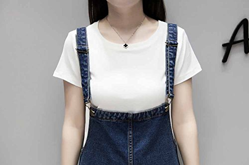 Lady'S Elwow Tallas Pantalones con Dungarees Babero Enrollado Cortos Simple Mono Grandes Short Bolsillos Grandes Azul Jeans dqqwHv5r