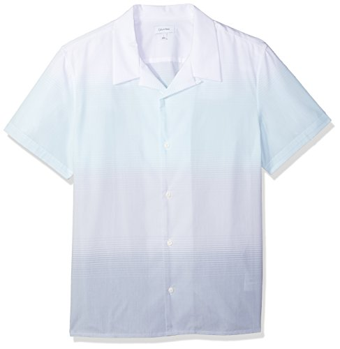 Calvin Klein Men's Short Sleeve Woven Button Down Shirt, Light Jade, L by Calvin Klein
