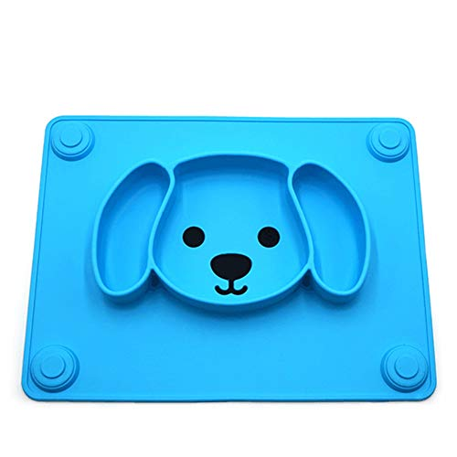 Cozy69 Baby Placemat, Silicone Suction Child Feeding Mat Plate Non Slip Cute Foldable Suction Child Feeding Toddlers with Spoon for Toddlers Children Kids Fits Most Highchair Trays and Tables(Blue)