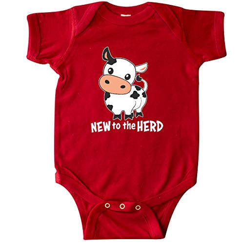 inktastic - New to The Herd- Cute Cow Infant Creeper Newborn Red 34597 ()