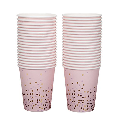 - Geeklife Gold Paper Cups,Sparkly Gold Foil Disposable Paper Cups 9oz for Wedding,Baby Shower,Birthday Party and Anniversary Dinner 40Pcs
