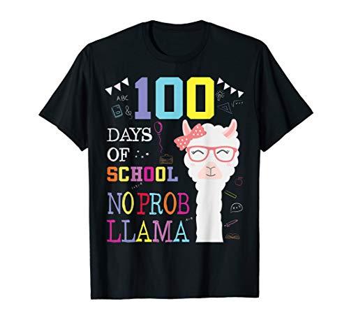 100 Days of School Shirt No Probllama Llama 100th day tshirt
