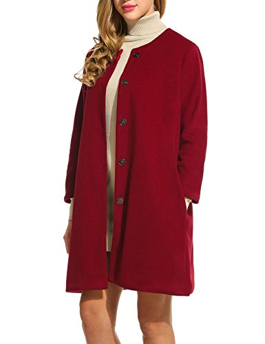 Red Wool Blazer Jacket (ELESOL Women Wool Blended Slim Fit Long Blazer Petite Trench Coats with Pockets (Red/XL))