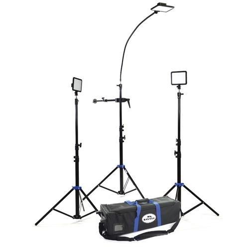 Savage Cobra LED Light Kit, Includes 3x 7' Drop Stand Easy Set Light Stands, 3x Luminous Pro LED Video Lights, 40