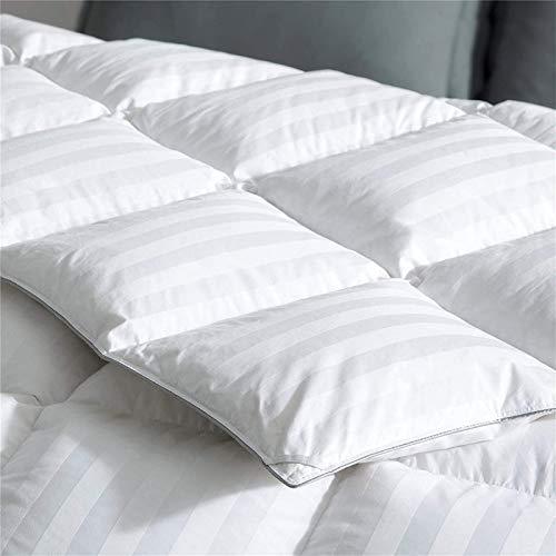 puredown All Season Down Comforter Stripe White 100% Cotton Shell 500 Thread Count 800 Fill Power, Cal King