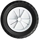 Shepherd Hardware 9613 8-Inch Semi-Pneumatic Rubber Replacement Tire, Plastic Wheel, 1-3/4-Inch Diamond Tread, 1/2-Inch Bore Offset Axle,White