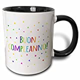3dRose Buon Compleanno Happy Birthday in Italian Colorful Rainbow Text Two Tone Black Mug, 11 oz, Black/White
