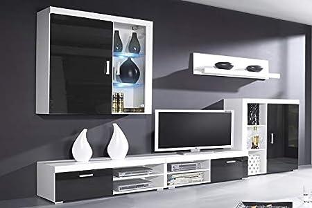 SelectionHome Mueble Comedor, Salon Moderno con Led, Acabado en Negro Brillo Lacado y Blanco Mate, Medidas: 290 cm (Ancho) x 200 cm (Alto) x 45 cm (Fondo)