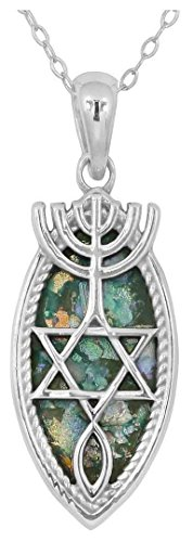 Silver Sterling Chain Roman Glass (Sterling Silver Messianic Seal Pendant with Roman Glass (chain NOT included) (BTTS-NP11883-RG))