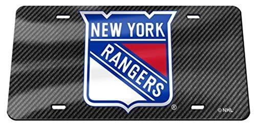 New York Rangers Carbon Fiber Design Premium Laser Cut Tag Acrylic Inlaid License Plate Hockey - New York Rangers Laser