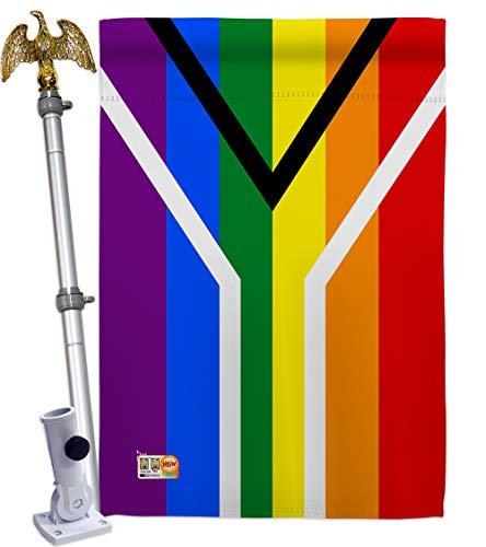 Americana Home & Garden HS148007-BO-02 Gay South Africa Inspirational Support Decorative Vertical House Flag Set, 28
