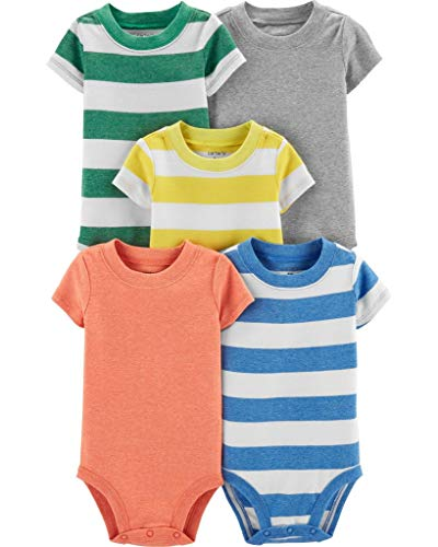Carter's Baby Boys 5 Pack Bodysuit Set, Stripes, 3 Months