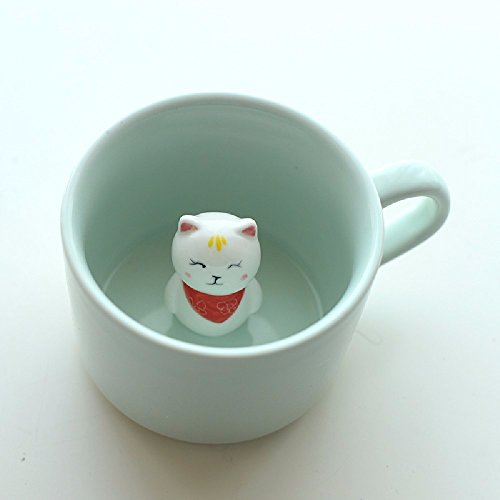 SSBY Coffee cup bottom animals 3D ceramic cup Cute cartoon creative mug Celadon water cup With cover and spoon,Kitty