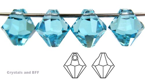 Machine Cut Bicone - 6mm Aqua, Czech Machine Cut Top Drilled Bicone Pendant (6301 Shape), 12 pieces