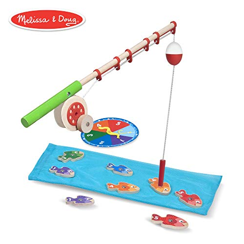 (Melissa & Doug Catch & Count Wooden Fishing Game (Developmental Toy, 2 Magnetic Rods))