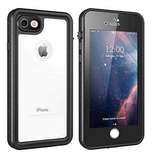 (iPhone 7/8 Waterproof Case, Gnais Shockproof Dirtproof Snowproof IP68 Certified Waterproof Clear Case with Built-in Screen Protector Full-Body Rugged Cover for iPhone 7/iPhone 8 4.7 inch(Black))