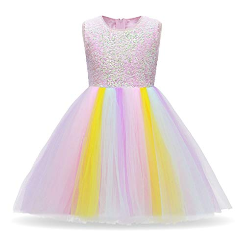 (Baby Girls Unicorn Rainbow Party Dress Toddler Sleeveless Princess Birthday Wedding Dress Halloween Dressing Up Costumes R# Sequin Rainbow Long Dress 11-12)