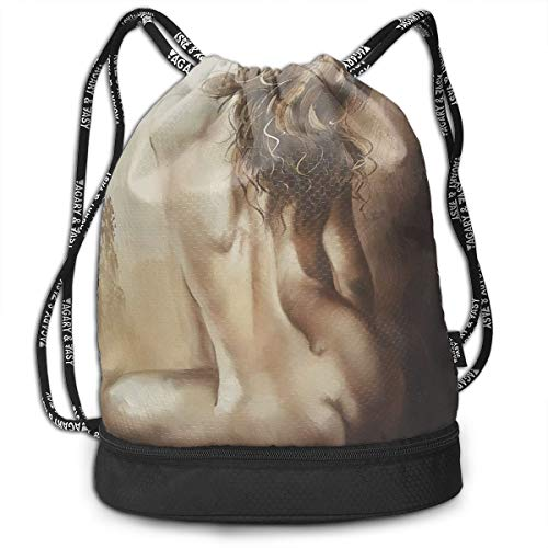 Zhangyi Sexy Nude Girl Lady Back Figurative Oil Painting Drawstring Backpack Sports Gym Cinch Sack Bag for Kids Gym Shoulder Bags ()