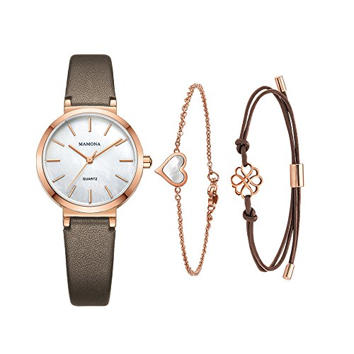 Ladies Watch Bracelet White (Ladies Quartz Mother Of Pearl Watch-MAMONA Rose Gold White and Leather Band Women bracelet set 3876LRGTS)