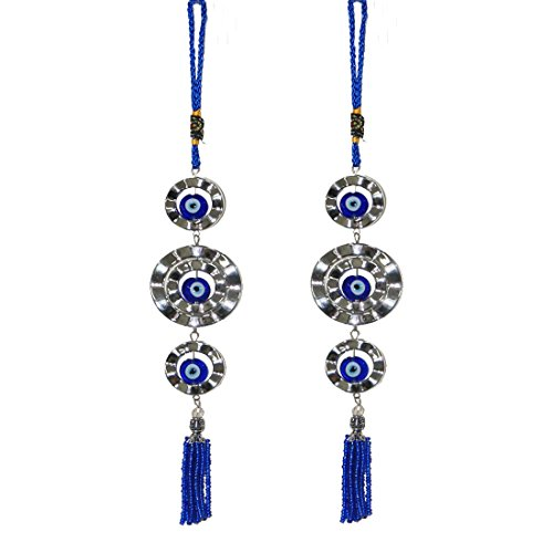 Divya Mantra Decorative Evil Eye Pendant Amulet for Car Rear View Mirror Decor Ornament Accessories/Good Luck Charm Protection Interior Wall Hanging Showpiece - Blue, Set of 2 (Luck Wedding Charms Good)