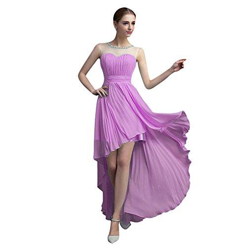 Para Con Mujer Morado Vestido Plisado Cuentas De Dama Vimans® Bajo Alto Honor zfqv0n8