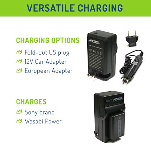 Wasabi Power NP-FW50 Battery (2-Pack) and Charger for Sony Alpha a5100, a6000, a6300, a6400, a6500, Alpha a7, a7 II, a7R, a7R II, a7S, a7S II, Cyber-Shot DSC-RX10 II, RX10 III, RX10 IV and More
