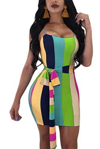Clothing Rainbow Dresses Belt Womens (Speedle Women's Fashion Sexy Strap Color Block Rainbow Striped Print Bodycon Dress with Belt Floral 3 S)