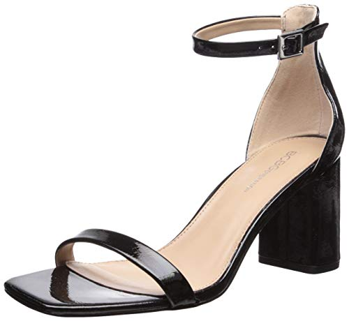 BCBGeneration Women's Talia Two Piece Sandal Heeled, Black, 9 M US