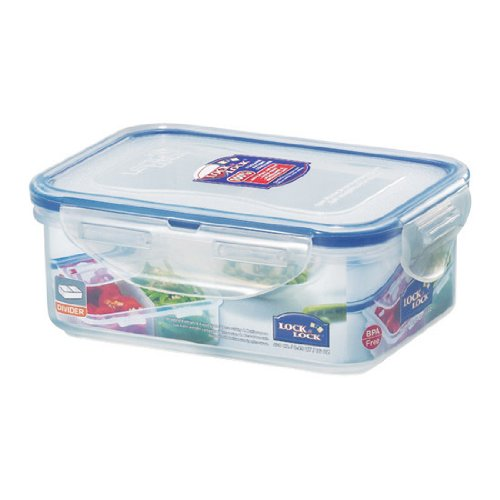 Lock&Lock Classics HPL814T Rectangular Food Container with Tray, 450ml Jars & Containers at amazon