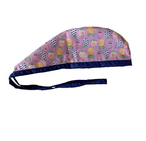 Unisex Mens Tie Back Scrub Cap Surgical Cap Navy Purple Tiny Pineapple