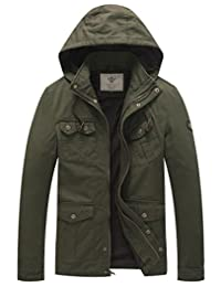 WenVen Men's Hooded Cotton Military Jackets