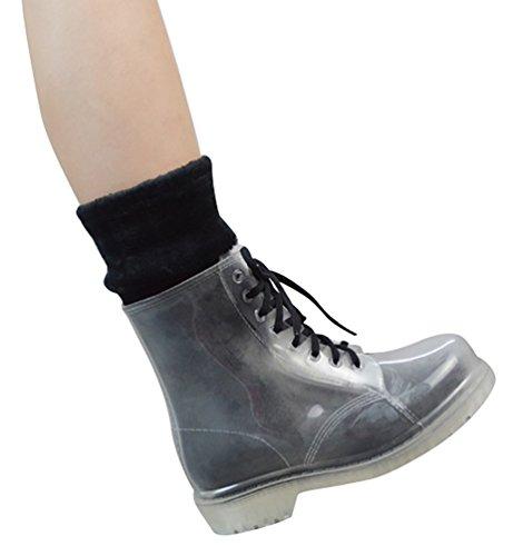 LvRao Botas Tobillo Alto para Mujeres Invierno Calentar Boots de Lluvia Nieve Zapatos Cordones Botines Transparente con Calcetines
