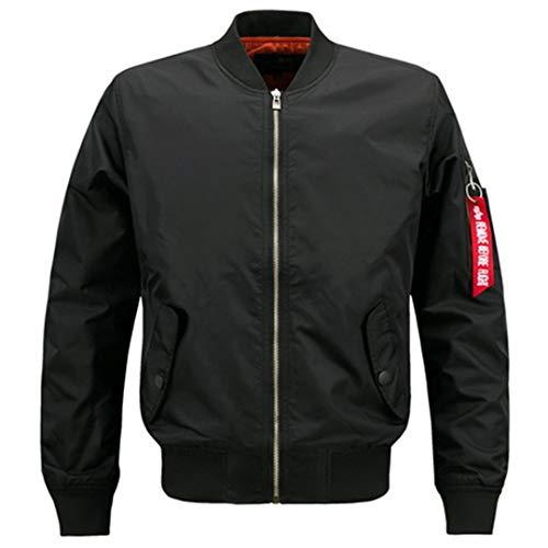 Women Men Bomber Jacket Coat Autumn Air Force Pilot Windbreaker Black Army Military Baseball Jackets 002 Black ()