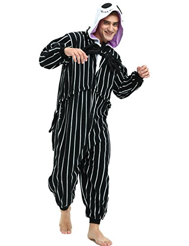 Jack Skellington Onesie for Adult and Teenagers.Skeleton Halloween Costume for Women and Men.Small -