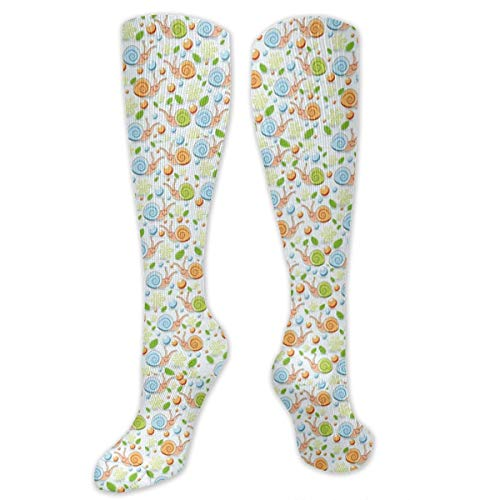 Compression Socks Cute Snails Pattern Soccer Sports Knee High Tube Socks For Women And Men