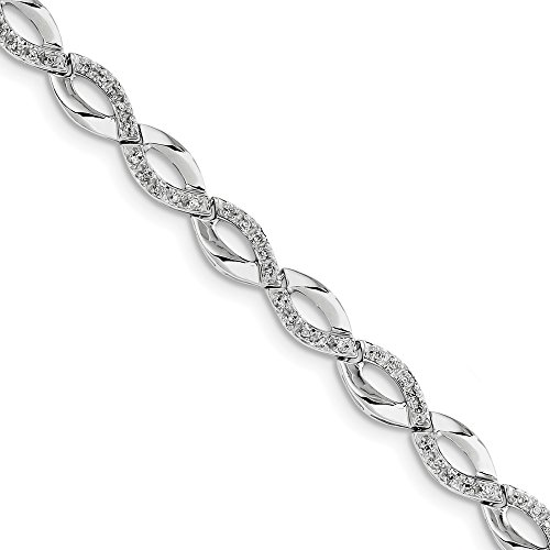 Sonia Jewels Sterling Silver Diamond Bracelet 7