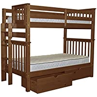 Bedz King Tall Bunk Beds Twin over Twin Mission Style with End Ladder and 2 Under Bed Drawers, Espresso