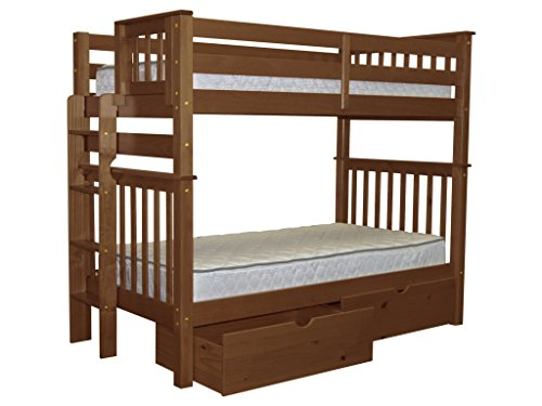 Bedz King Tall Bunk Beds Twin over Twin Mission Style with End Ladder and 2 Under Bed Drawers, Espresso For Sale