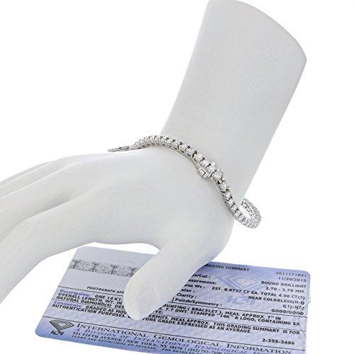 IGI Certified 4 CT Diamond Tennis Bracelet 14K White Gold