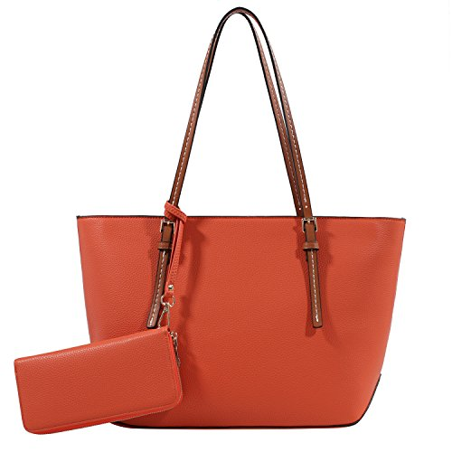 DELUXITY Amber Zippered Tote Shoulder Bag with Matching Clutch Wallet - 2 Item Set (Orange)]()