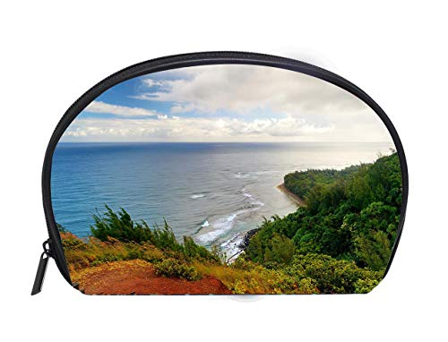 (Portable Toiletry Cosmetic Bag Kalalau trail in Kauai Hawaii Ladies Travel Convenience Small Wash Bag Storage Bag)