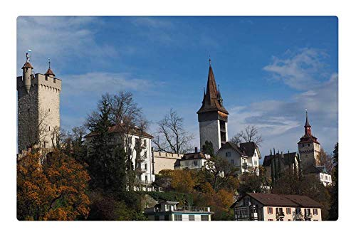 Indoor Floor Rug/Mat (23.6 x 15.7 Inch) - Lucerne Musegg Wall Historically Old Town Turret - Lucerne Small Wall