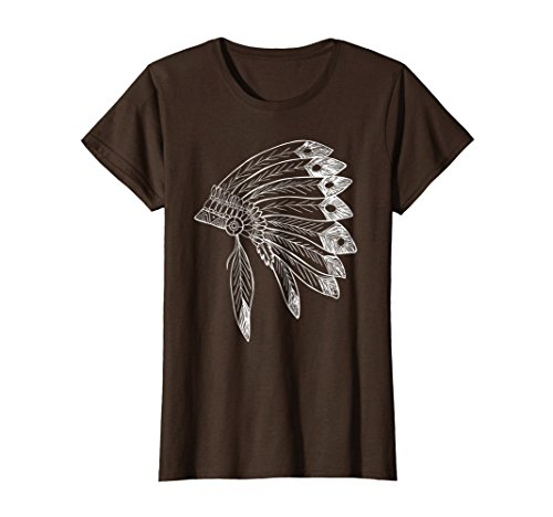 Womens Native American Feather Headdress Tee Native Indian T Shirt XL Brown
