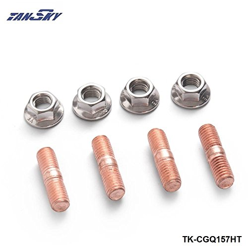 Sport M10 x 1.50 Threaded Turbo Studs Kit Flange Nuts High Strength T3 T4 T6 Set of 4 TK-CGQ157HT