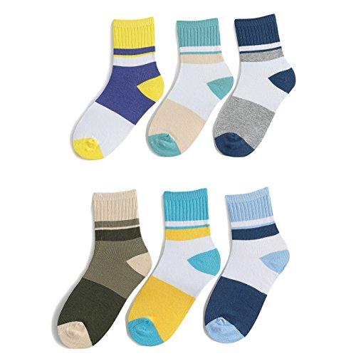 Big Boys Cotton Seamless Socks Crew Atheletic Sport Socks for Kids 6 Pack 10T/11T/12T/13T by HowJoJo (Image #1)